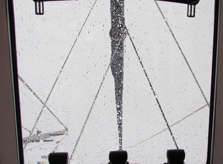 rain drops on a sailboat hatch
