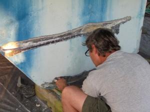 Image of repairing a cracked keel