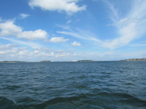 Image of water and sky, headed for the water