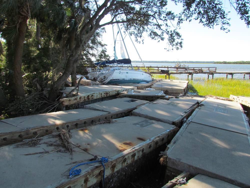 broken docks dataw island south carolina hurricane matthew