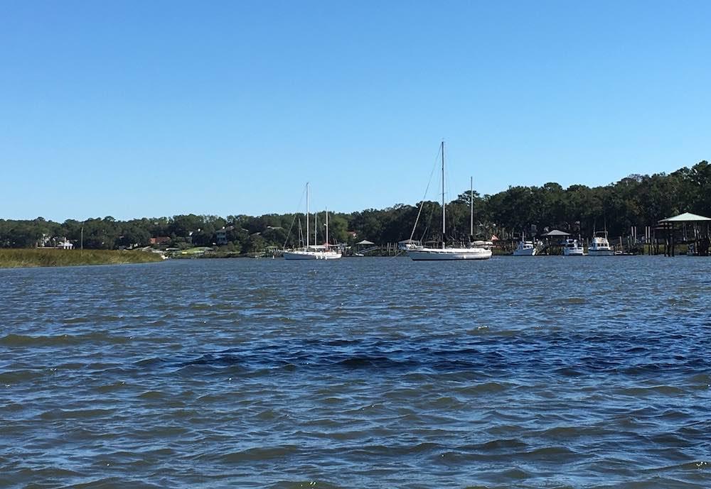 boats anchored for hurricane matthew