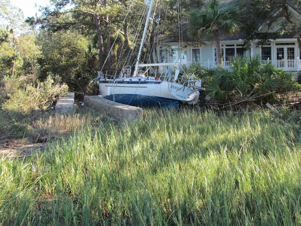 sailboat aground dataw island south carolina
