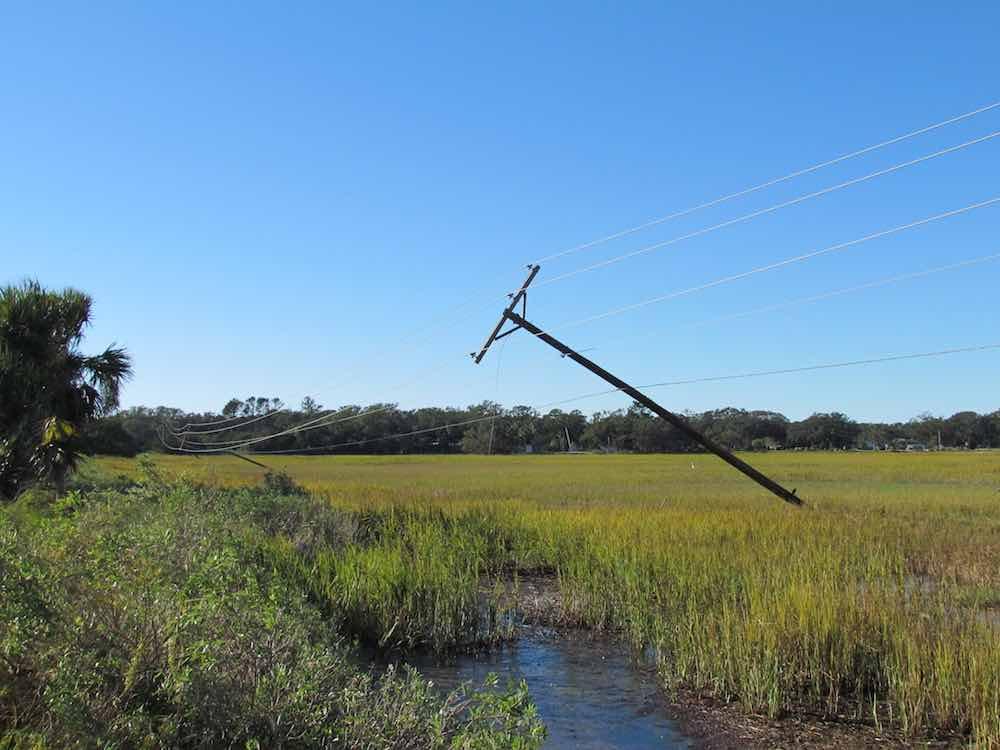 hurricane matthew damaged power poles saint helena island