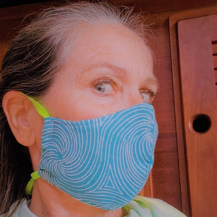 turquoise swirl fabric mask