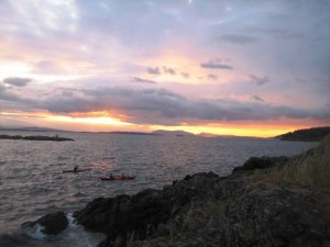 San Juan Island sunset with kayakers