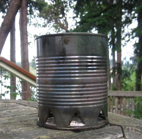 a charcoal lighting chimney made from a recyled tin can