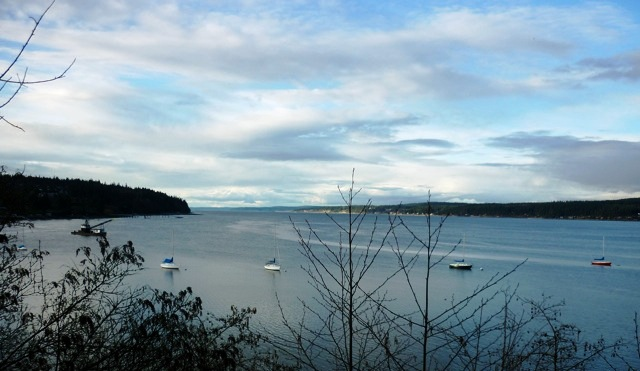 sailboats at anchor, Holmes Harbor, Whidbey Island Washington