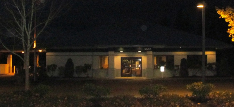 A bank at night