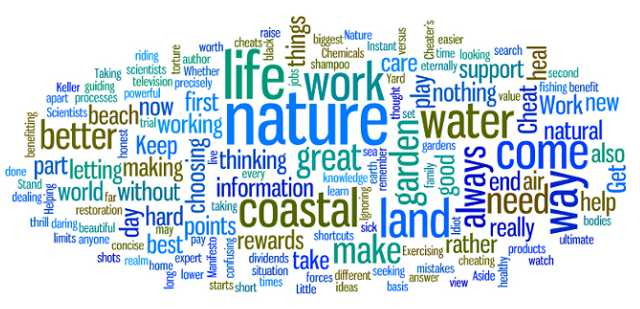Tag cloud of words about living on the coast, nature, water, beach, care.