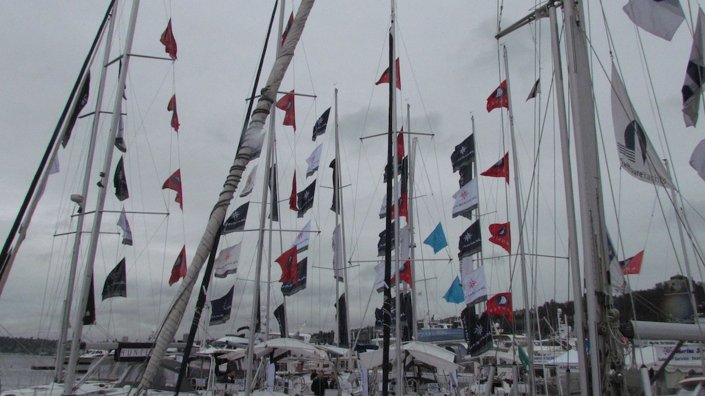 A good wind waving flags at the Seattle Boat Show