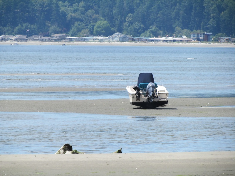 boat on the sand at Useless Bay, Whidbey Island