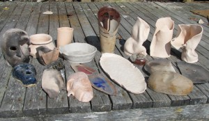 ceramic pieces for art reef on a doc