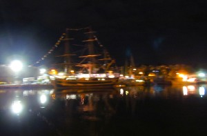 Night shot of HMS Bounty in Gloucester, MA