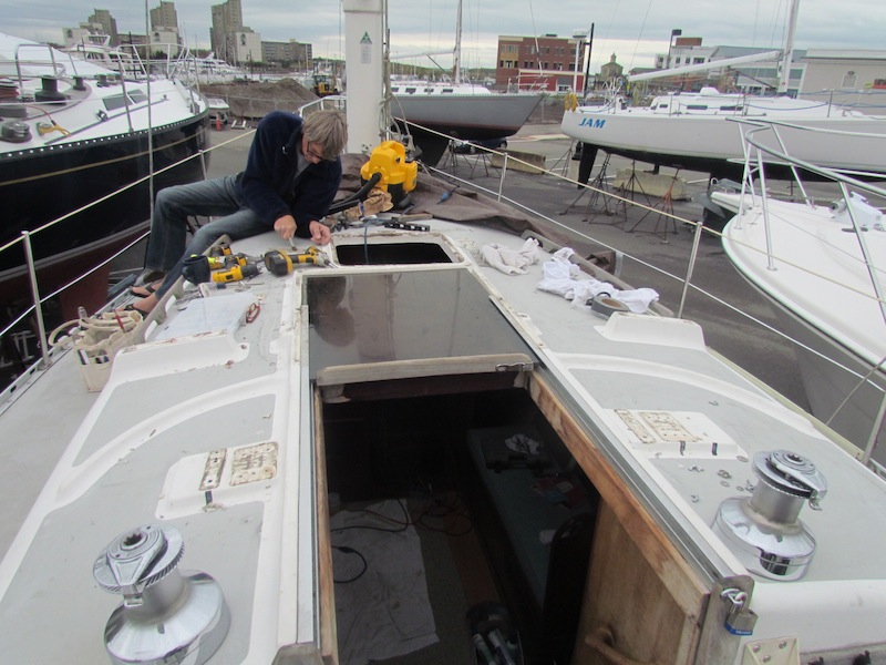 removing old deck hardware from Freedom 30 sailboat