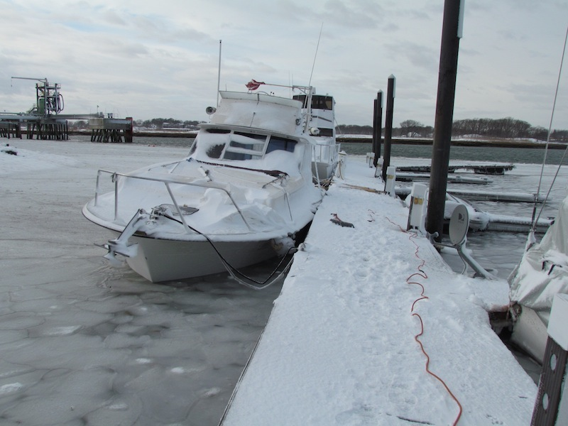 boat sinking in snow