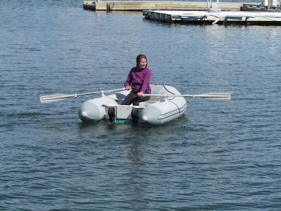 rowing inflatable dinghy