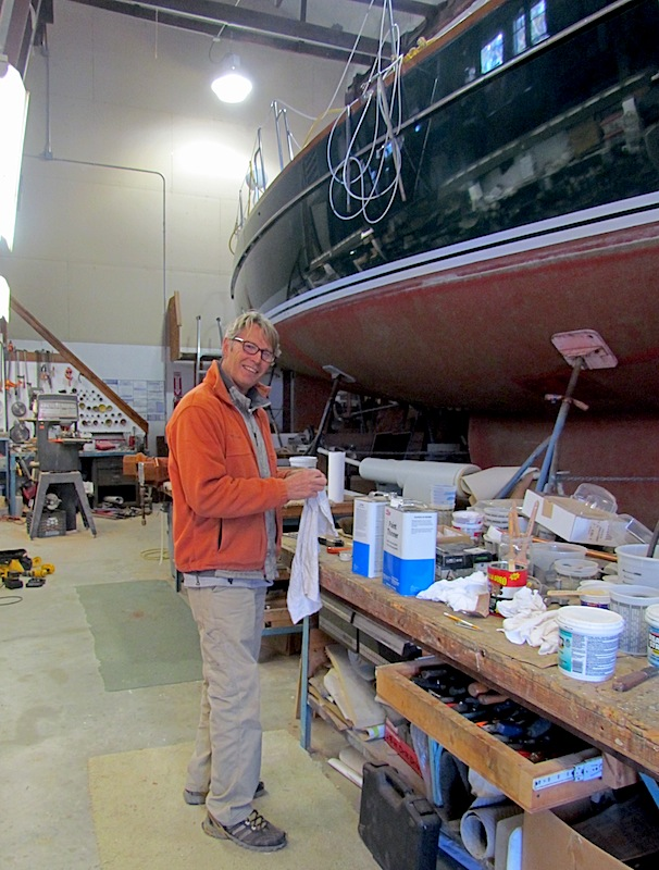 tom working in boat shop