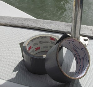 rolls of duct tape on sailboat transom
