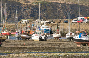 Image of boats at low tide lower fishguard wales